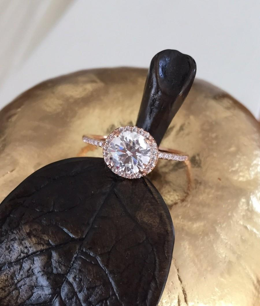 Hochzeit - Forever Brilliant Moissanite Engagement Ring, Art Deco Engagement Ring, 14K Gold Diamond Wedding Ring