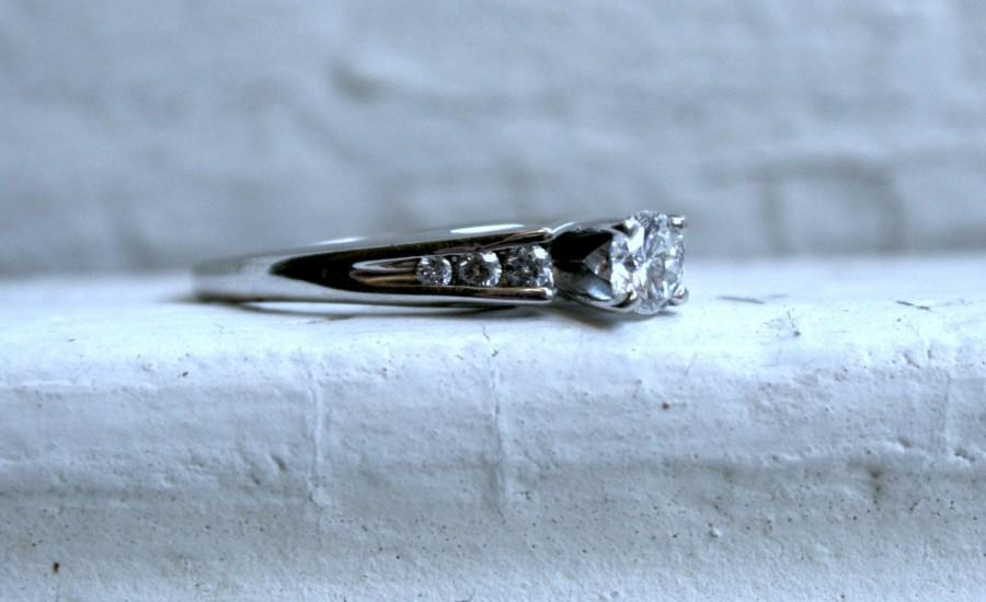 Hochzeit - Classic Vintage 14K White Gold Diamond Engagement Ring - 0.54ct.
