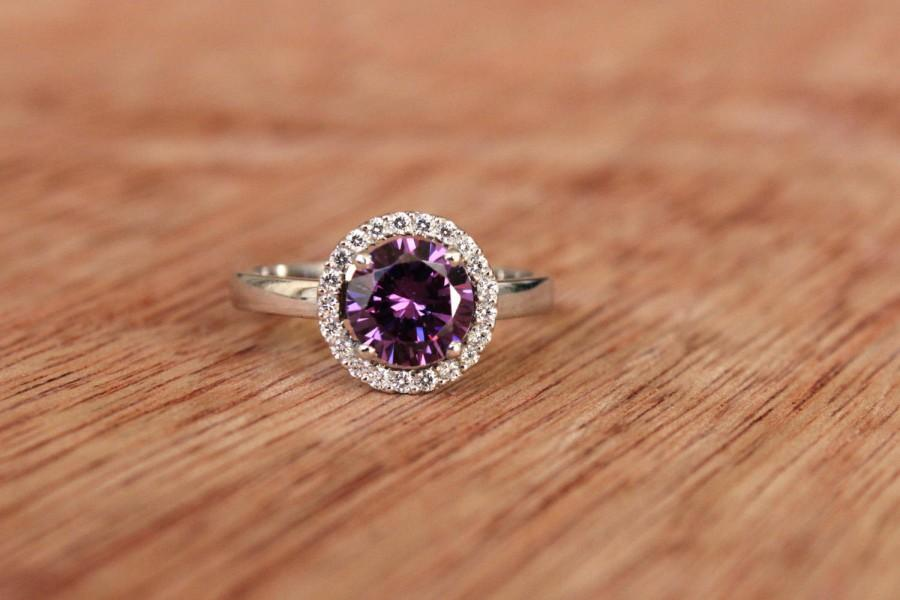Wedding - Engagement Ring, Amethyst Ring, Solid Gold Halo Ring, White Gold Ring, Amethyst Halo Ring, Solid Gold Ring, Purple Diamond, 14k Amethyst