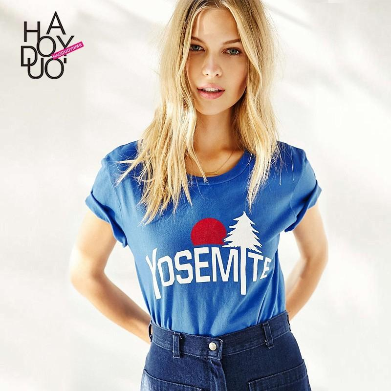 Hochzeit - In summer 2017 new simple letters printed slim t casual t shirt - Bonny YZOZO Boutique Store
