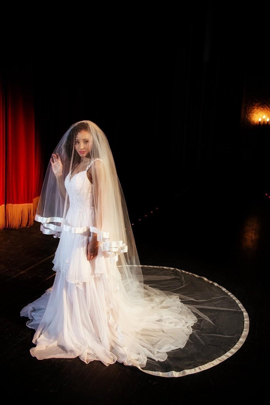 زفاف - Full cathedral wedding veil with satin or organza trim - cathedral veil with blusher - Style 1150