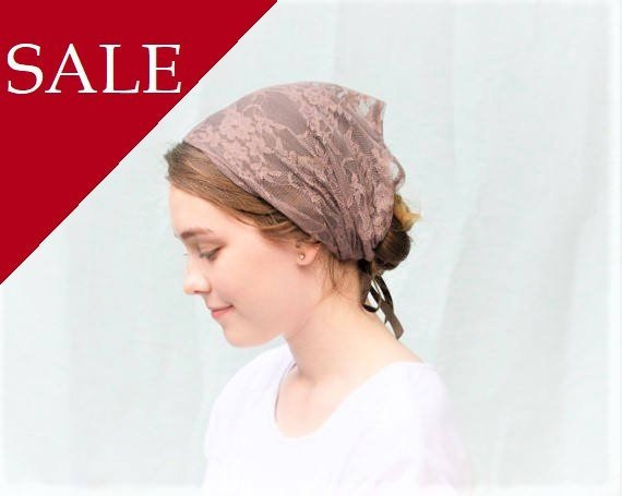 زفاف - SALE Soft Brown Lace Convertible Head Cover