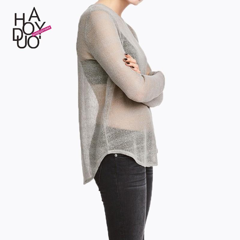 Mariage - Oversized Vogue Sexy Simple Seen Through Jersey One Color Spring Sweater - Bonny YZOZO Boutique Store