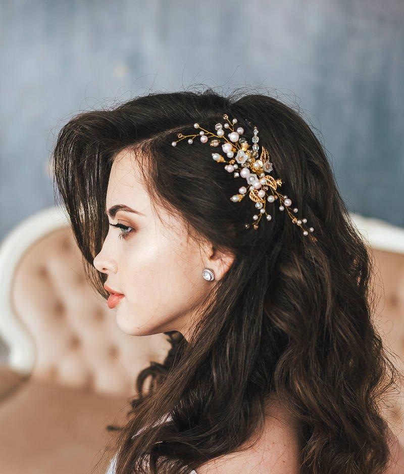 Mariage - Bridal Headpiece, Gold Flower Hair Comb, Gold Leaf Headpiece, Flower Headpiece, Crystal and Pearl Wedding Hairpiece, Rose Wedding hair comb