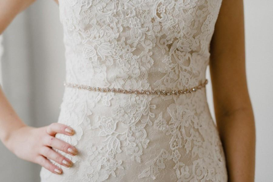 Hochzeit - Thin Rose Gold Bridal Belt