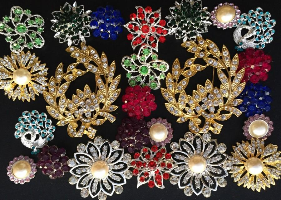 Wedding - 24 pcs vintage style wholesale lot crystal rhinestone mixed color button brooch bridal wedding bouquet decoration DIY kit BR674