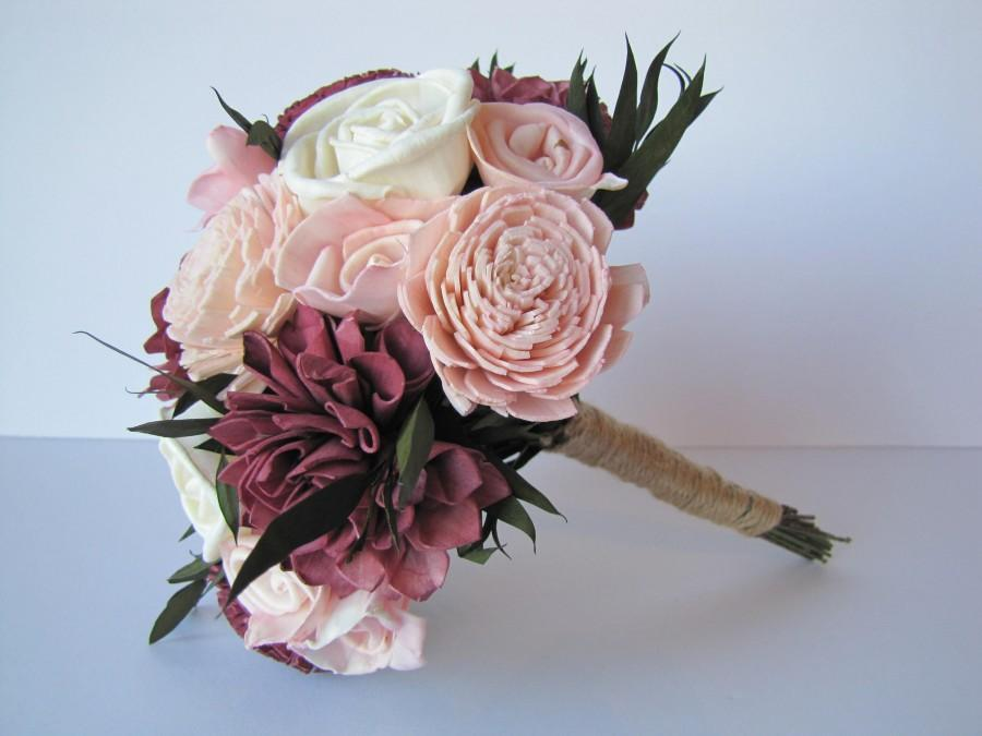 Wedding - Burgundy and Blush Pink  Sola Flower Bridesmaid Bouquet, Bridesmaid Bouquet,  Sola Flower wedding bouquet, sola flower bouquet. Marsala
