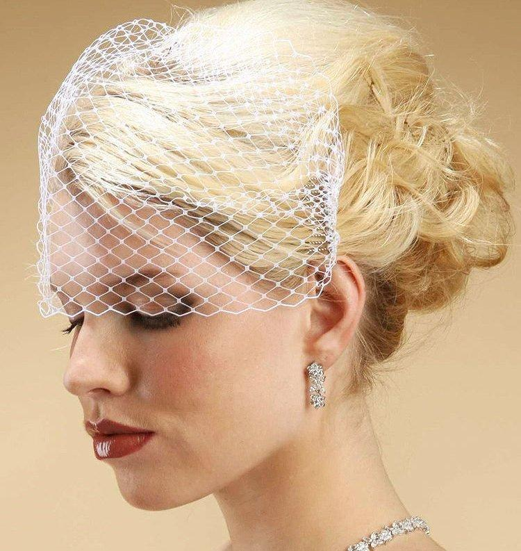 Wedding - French Netting Birdcage Visor Bandeau Veil! (Short Length)  FREE DOMESTIC SHIPPING!