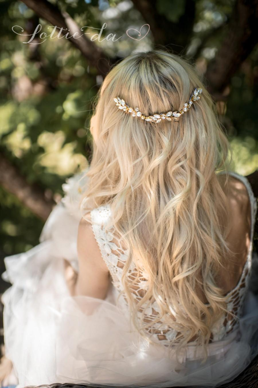 "Wedding - Boho beach bridal opal and gold hair vine wedding accessory, ""Harmony"""