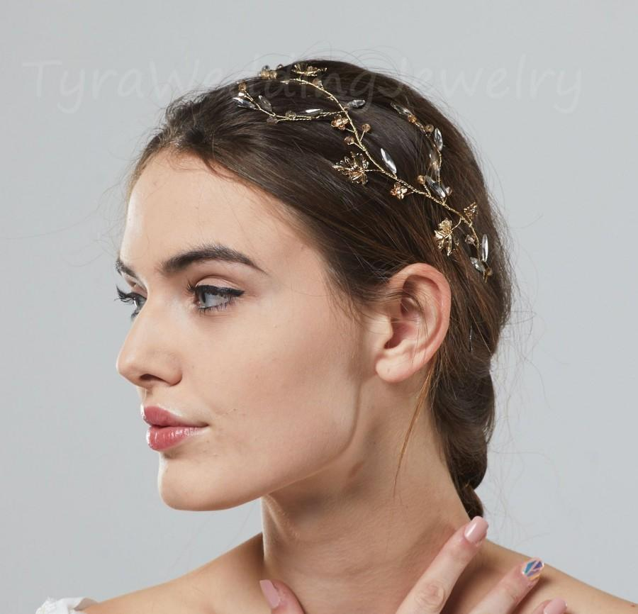 Свадьба - Dainty Gold crystal leaf Headband,Wedding Hair Vine,Bridal Headband, Wedding Hair Accessories,Wedding Headband, Vine Headpiece,TYD2