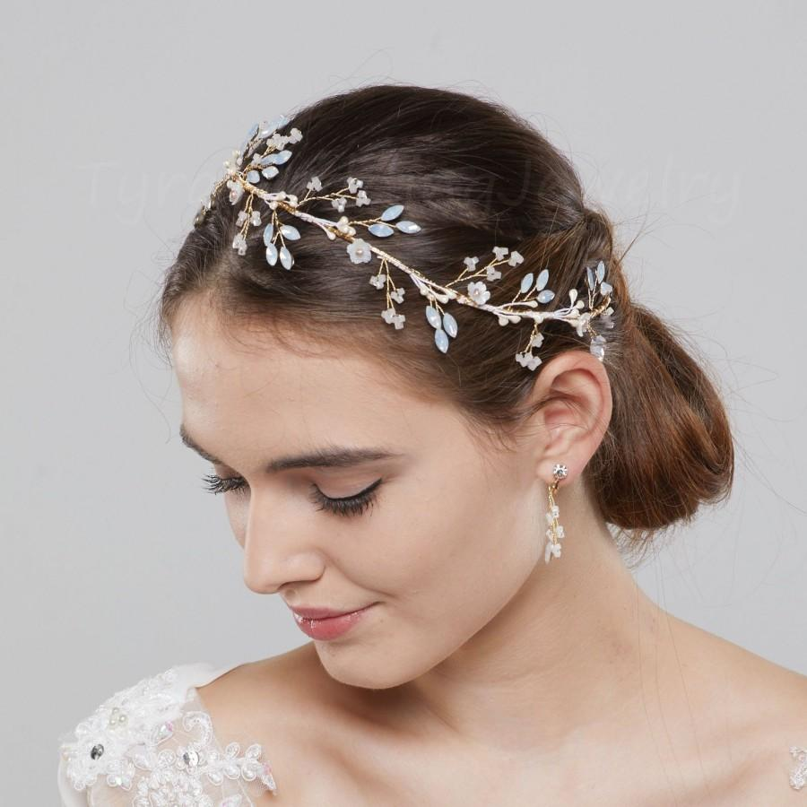 Hochzeit - October opal headband and earrings set,October wedding jewelry, Bridal Headband, Wedding Hair Accessories, Wedding Headband,TD2