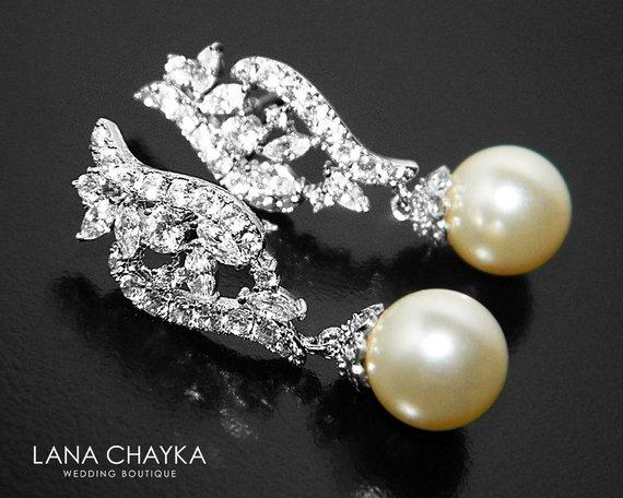 Wedding - Cubic Zirconia Pearl Bridal Earrings, Swarovski 10mm Pearl Silver Earrings, Wedding Pearl Earrings, Pearl Bridal Jewelry, Prom Pearl Earring