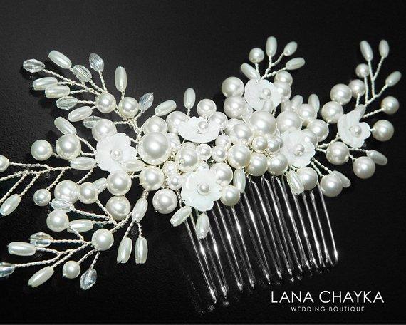Wedding - Pearl Bridal Hair Comb, Swarovski White Pearl Silver Hair Piece, Wedding Pearl Floral Comb Bridal Pearl Headpiece Pearl Crystal Hair Jewelry