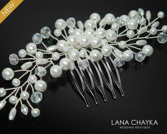 Wedding - White Pearl Bridal Hair Comb Pearl Floral Hair Comb Wedding Pearl Hair Piece White Pearl Headpiece Bridal Pearl Crystal Hair Jewelry