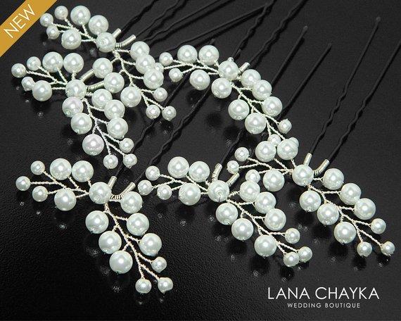 Wedding - White Pearl Bridal Hair Pins, Set of 6 Pearl Hair Pins, Wedding Pearl Floral Hair Pins, White Pearl Headpieces, Pearl Bridal Hair Jewelry