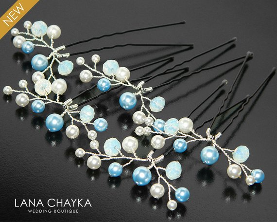 Wedding - Blue White Pearl Bridal Hair Pins, Swarovski Pearl Wedding Hair Pins Bridal Hair Jewelry Light Blue Pearl Hair Pins Pearl Crystal Hair Piece