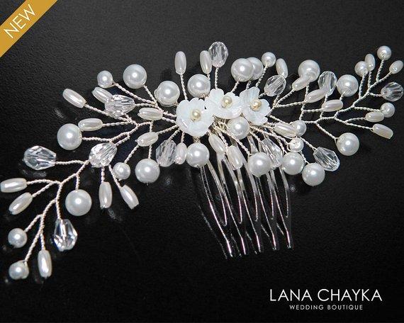 Wedding - Bridal Pearl Hair Comb, White Pearl Crystal Hair Comb, Wedding Pearl Headpiece, Bridal Pearl Hair Jewelry, White Pearl Hair Piece, Hair Comb