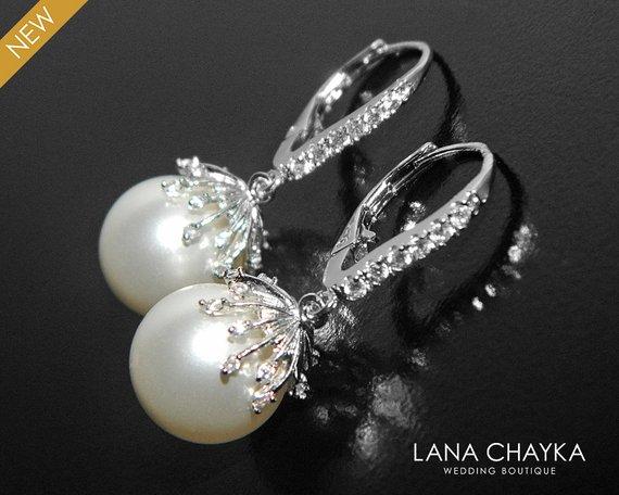 Wedding - Large White Pearl Wedding Earrings, Swarovski 12mm Pearl Earrings, Bridal Earrings, White Pearl Silver Leverback Earrings, Bridal Jewelry