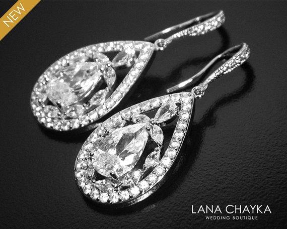 Wedding - Bridal Earrings, Cubic Zirconia Teardrop Earrings, Crystal Chandelier Wedding Earrings, Statemant CZ Dangle Earrings, Bridal Crystal Jewelry