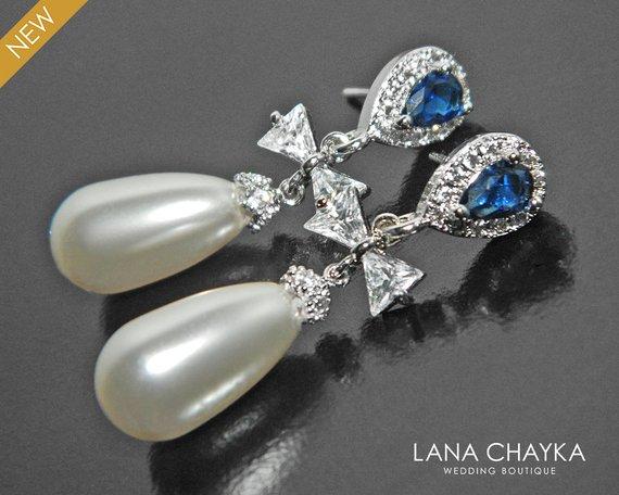 Wedding - Pearl Bridal Earrings, Swarovski White Teardrop Pearl Earrings, Pearl Bow Dangle Earrings, White Pearl Navy Blue Earrings, Wedding Earrings