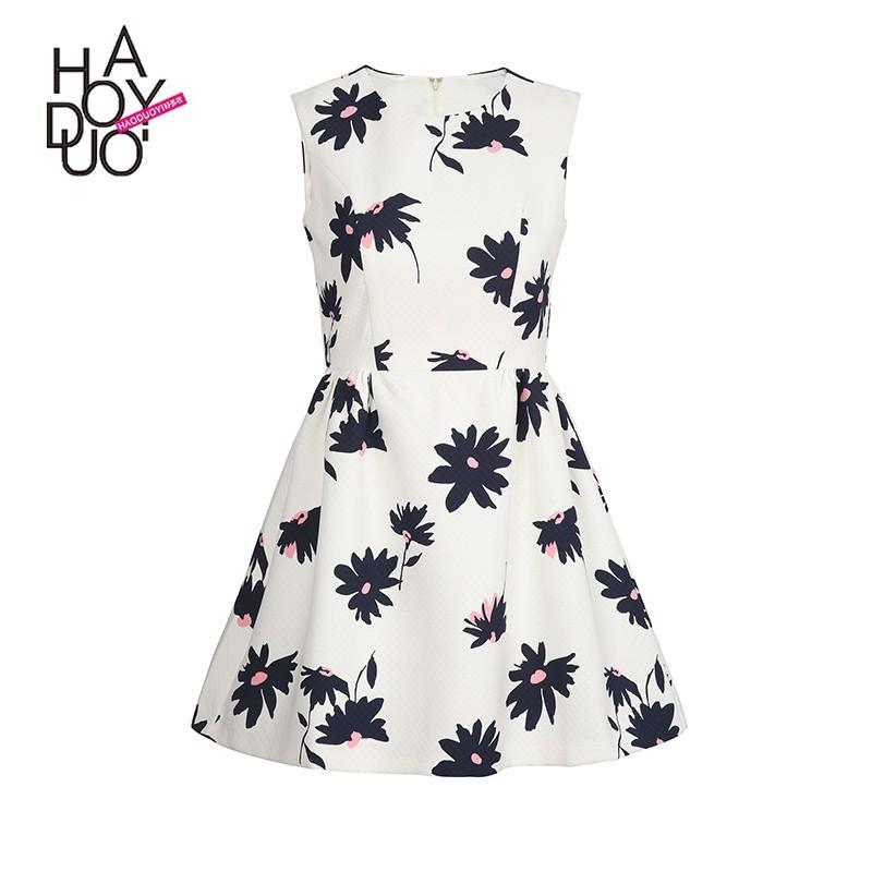 6686374b2fa57 Simple Sweet Printed Sleeveless High Waisted Floral Summer Dress - Bonny  YZOZO Boutique Store