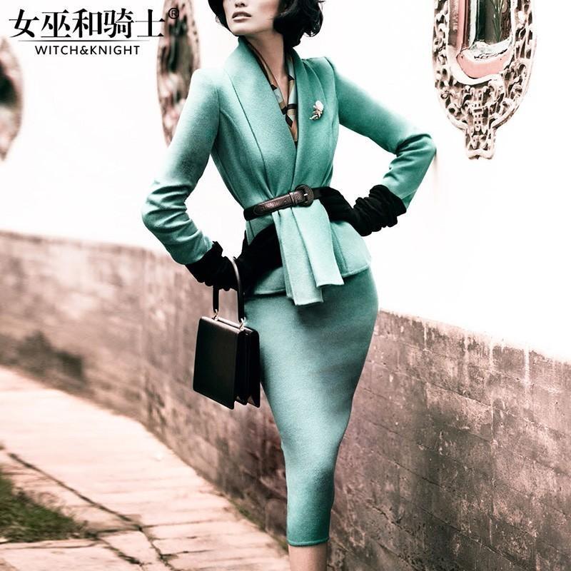 Свадьба - Simple Vintage Slimming Sheath Wool Tie Twinset Skirt - Bonny YZOZO Boutique Store