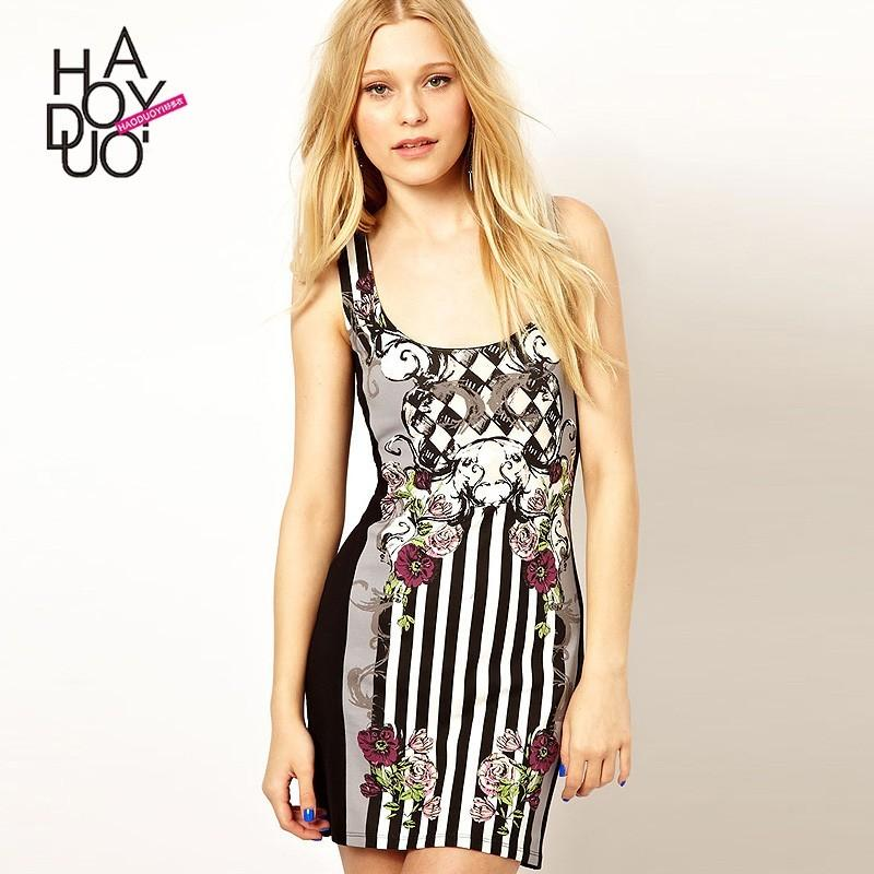 Wedding - Vogue Printed Slimming Sleeveless Floral Fall Stripped Dress - Bonny YZOZO Boutique Store