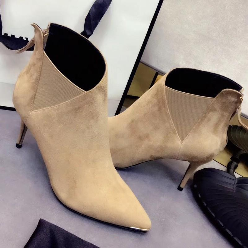 Wedding - Pointed Thin Leather Boots High Heels - Bonny YZOZO Boutique Store