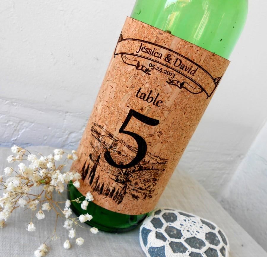 Hochzeit - Wine Bottle Labels with Table Number, Vineyard Wedding Decor, Natural Cork Engraved Wine Label, Personalized Wedding Table Number