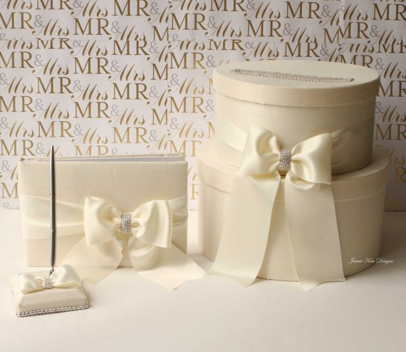 Свадьба - Wedding Card box, Guestbook and Pen Set- Custom Made to Order