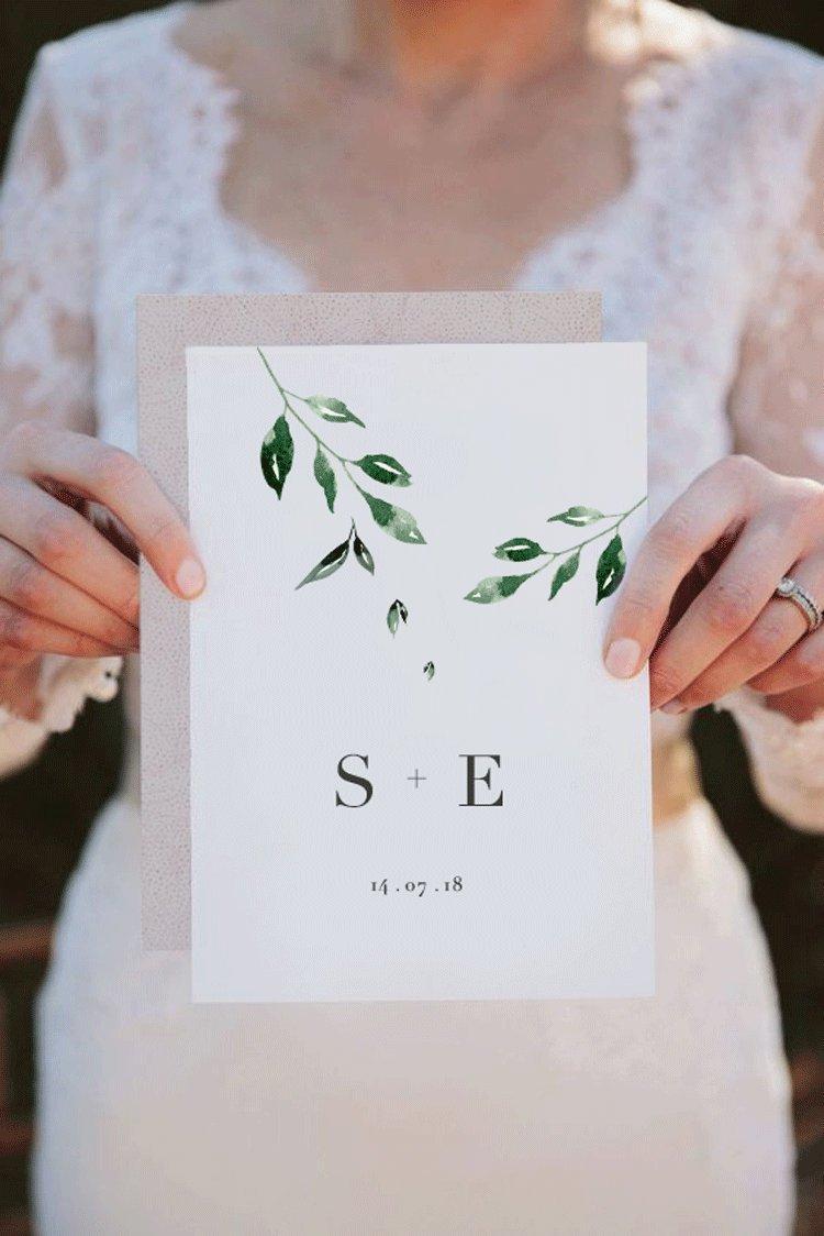 Hochzeit - Minimal Leaf Wedding Invitation, double sided printable wedding invitation, foliage, classic invitation, modern wedding, chic wedding