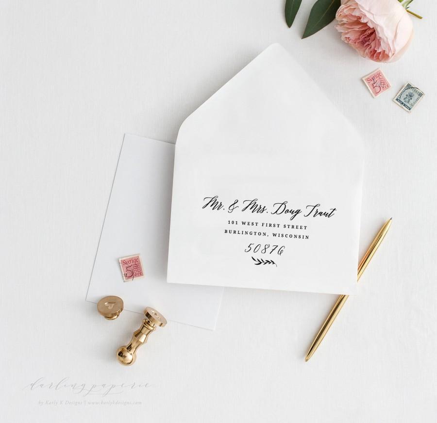 Hochzeit - Printable Envelope Addressing Template, Wedding Envelope Addressing Template, Calligraphy Script Wedding Envelope, Editable in Templett