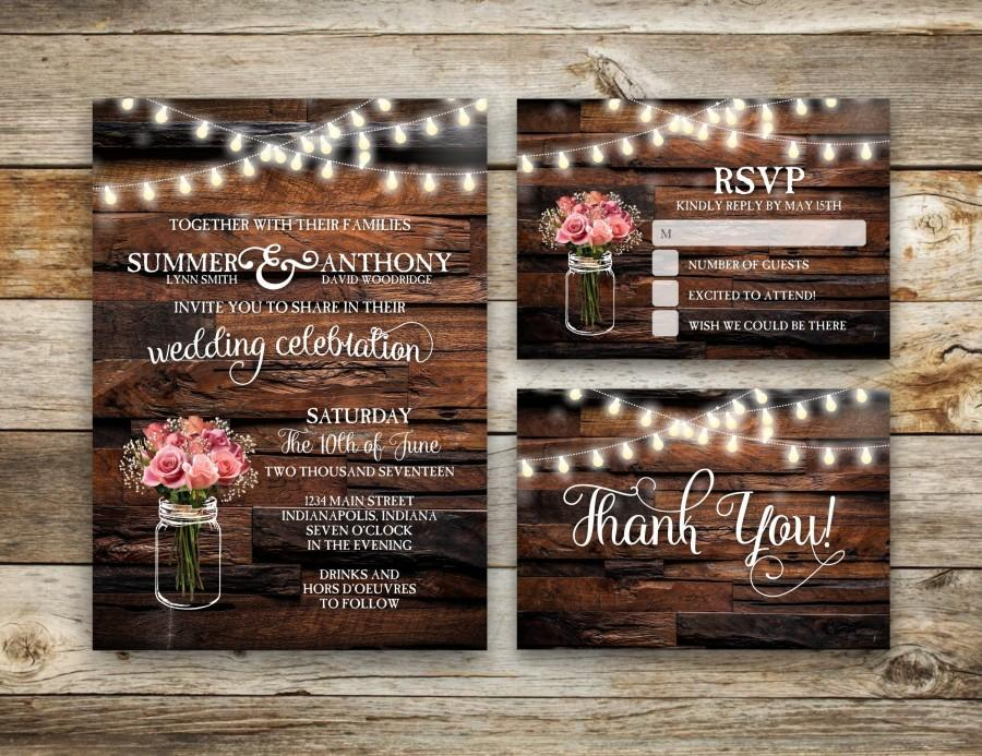 Hochzeit - Rustic Wedding Invitation, Vintage Wedding Invite, RSVP, Mason Jar Wedding, String Light Wedding, DIY, Printable