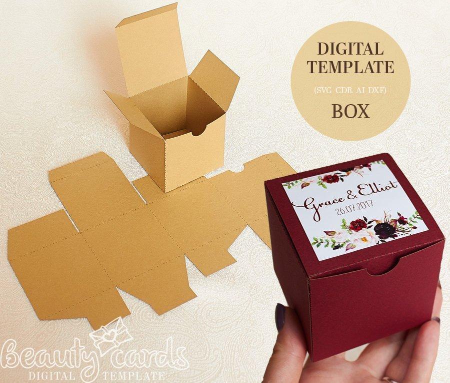 Hochzeit - Gift box template DIY SVG, square box, wedding favor box, party favor box, shower favor box,  (Svg Ai Dxf Cdr) Laser cut file Cameo Cricut