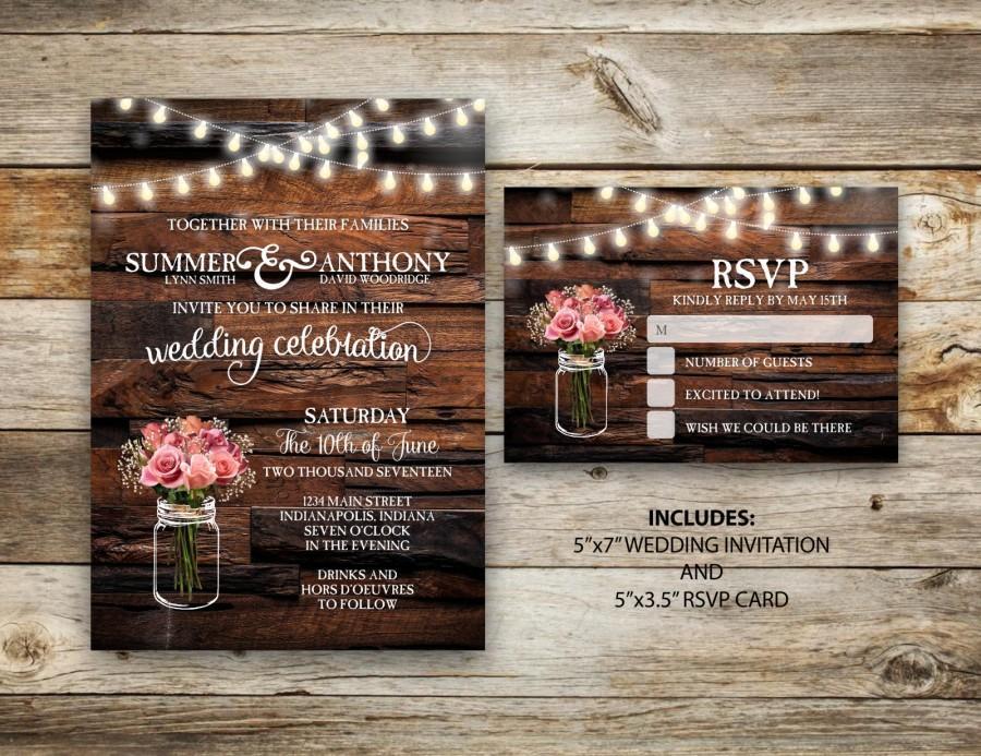 Hochzeit - Rustic Wedding Invitation, Vintage Wedding Invite, RSVP, Mason Jar Wedding, String Light Wedding, DIY, Printable