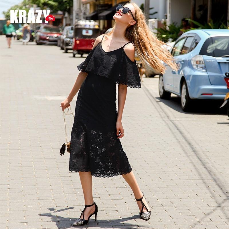 Wedding - Elegant Frilled Curvy Mermaid Off-the-Shoulder Lace Black Mini Dress Formal Wear - Bonny YZOZO Boutique Store