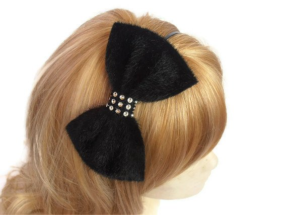 Hochzeit - Bow headband, Black velvet headband, Black velvet bow headband with rhinestone piece, Black Velvet Hairbow Hair Bow Headband