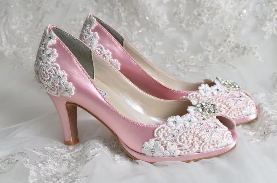 """Hochzeit - Wedding Shoes - Wedding Accessories- Womens Shoes, Wedding Heels Wedding Shoes Bridal Shoes Wedding Lace Peep Toe 2 3/4"""" Heels, Bridal Shoes"""