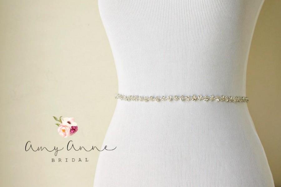 Hochzeit - Silver Beaded Vintage Skinny Delicate BHLDN Inspired Bridal Sash, Rhinestone Wedding Belt, BHLDN Inspired Bridal Belt, Skinny Crystal Belt