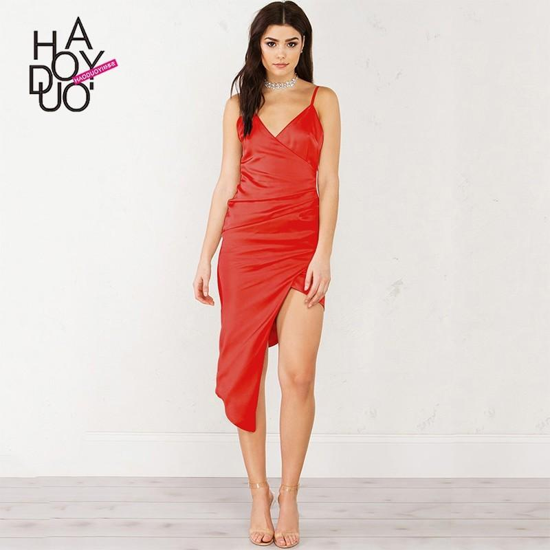 c732964aad Sexy Open Back Asymmetrical V-neck One Color Summer Dress Strappy Top - Bonny  YZOZO Boutique Store