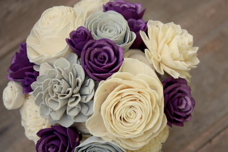 Hochzeit - Purple wedding bouquet, Sola wooden flower bouquet, deep purple sola wood flowers, eco flowers, wedding flowers, gray paper flower, keepsake