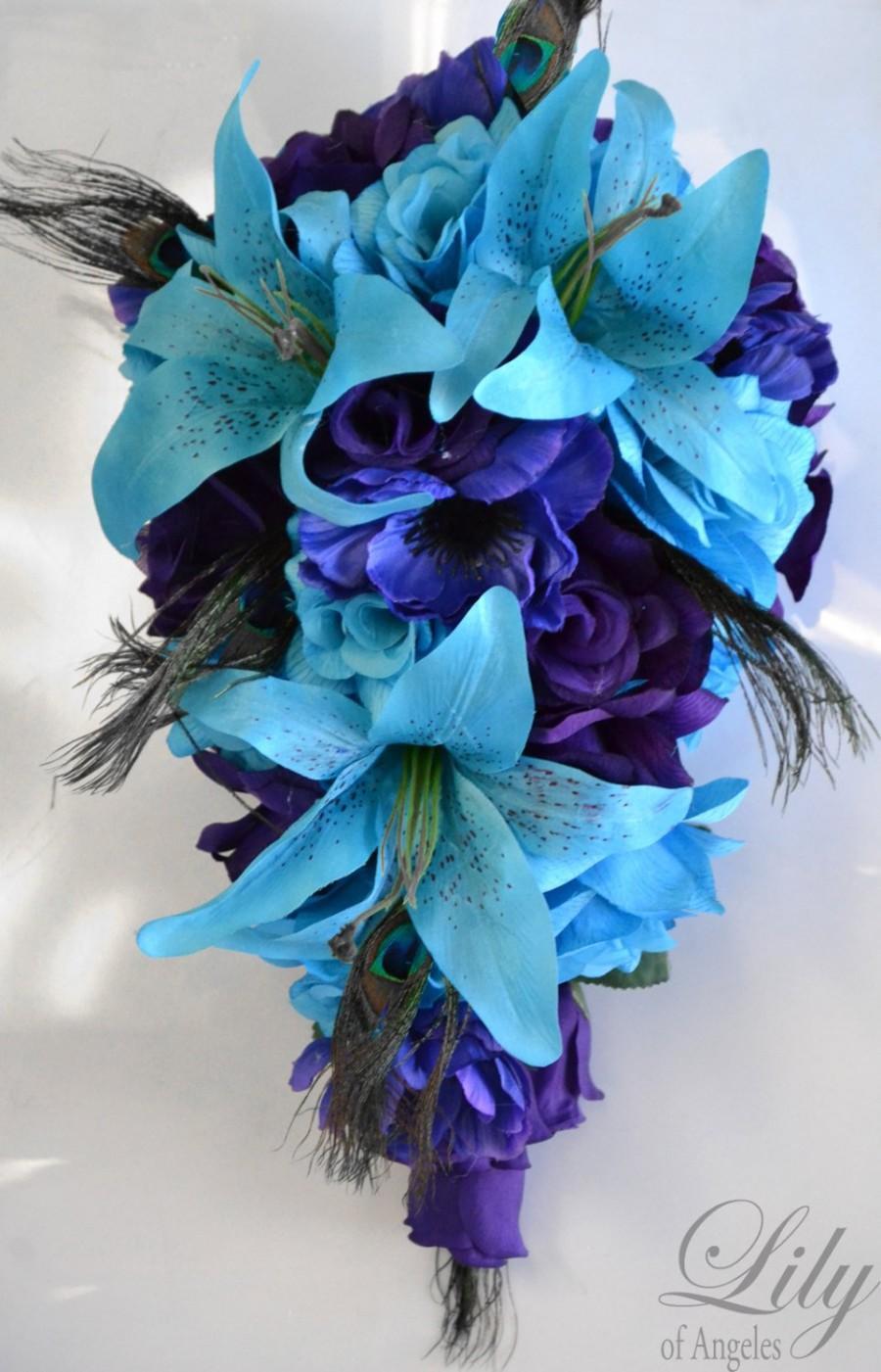 Hochzeit - Wedding Bouquet, Bridal Cascade Bouquet, Teardrop Bouquet, Cascade, 17 Piece Package, PURPLE, TURQUOISE, MALIBU, Peacock, Lily Of Angeles