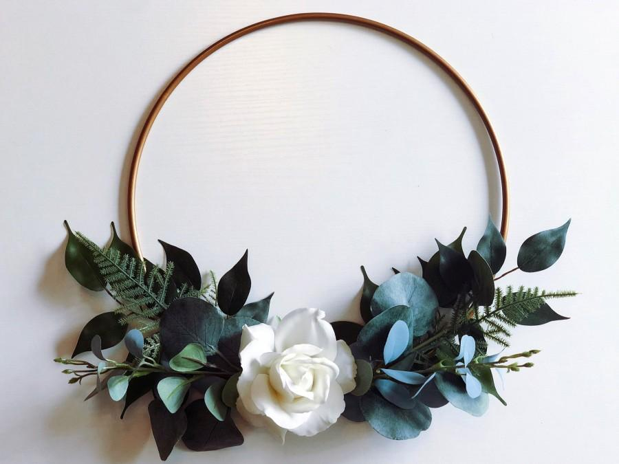 Hochzeit - Floral Hoop Bouquet, Bridal Hoop Bouquet, Custom Wedding Flower Hoop, Boho Wreath Home Wall Decor
