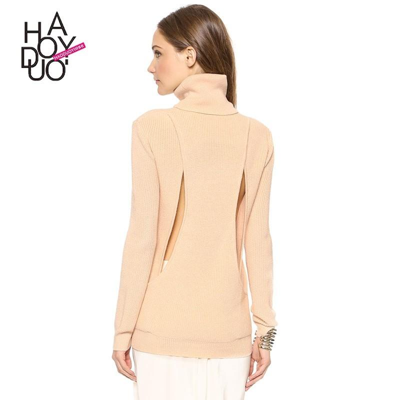 Wedding - Vogue Simple Open Back Hollow Out High Neck One Color Spring 9/10 Sleeves Sweater - Bonny YZOZO Boutique Store