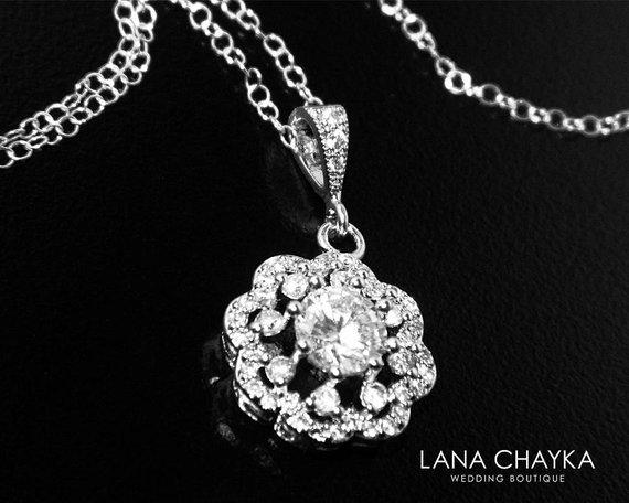 Wedding - Cubic Zirconia Bridal Necklace, Crystal Silver Necklace, Wedding CZ Floral Charm Necklace, Bridal CZ Jewelry, Clear Cubic Zirconia Pendant