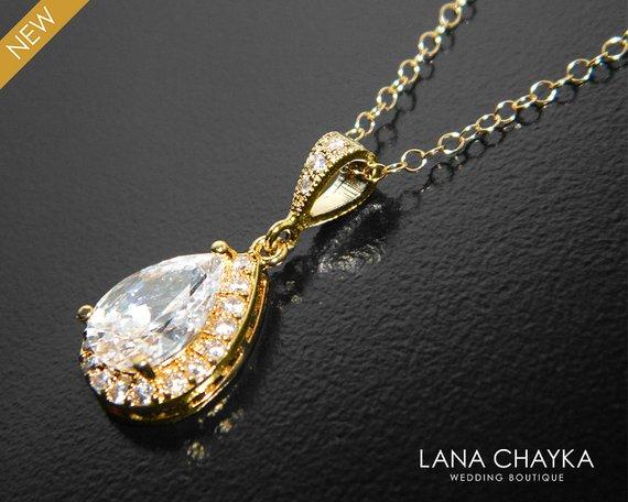 Wedding - Bridal Necklace, Wedding Crystal Necklace, Bridal Teardrop Gold Necklace. Bridal Jewelry, Cubic Zirconia Halo Crystal Necklace, Bridesmaids