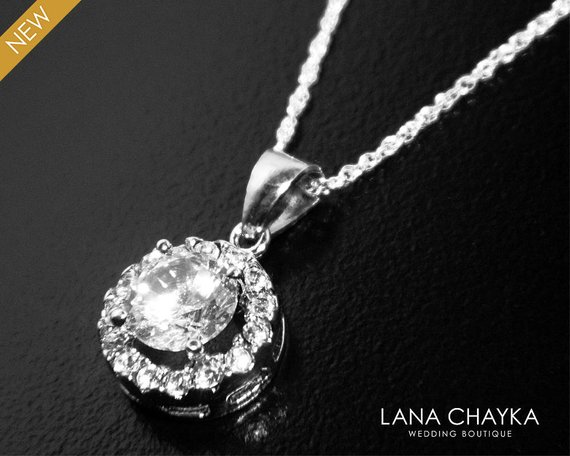 Wedding - Cubic Zirconia Bridal Necklace, Dainty CZ Wedding Necklace, Crystal Charm Necklace, Bridal Cubic Zirconia Jewelry CZ Sterling Silver Pendant