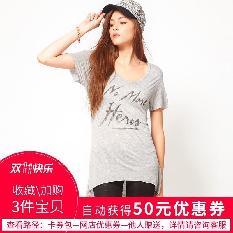 Свадьба - Oversized Printed Scoop Neck High Low Alphabet Grey Short Sleeves T-shirt - Bonny YZOZO Boutique Store