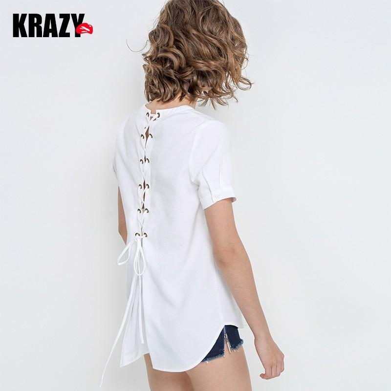 Свадьба - Sexy Open Back Asymmetrical Fresh V-neck Crossed Straps White Blouse - Bonny YZOZO Boutique Store