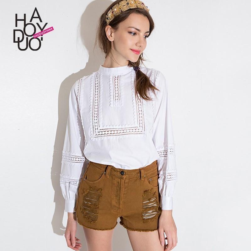 Свадьба - Sweet Split Front Hollow Out High Neck Bubble Sleeves Delicate Lace Blouse - Bonny YZOZO Boutique Store